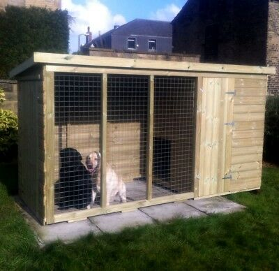 Wooden 8x4 Dog Kennel and Run Pet House Tanalised T&G Throughout Strong Mesh