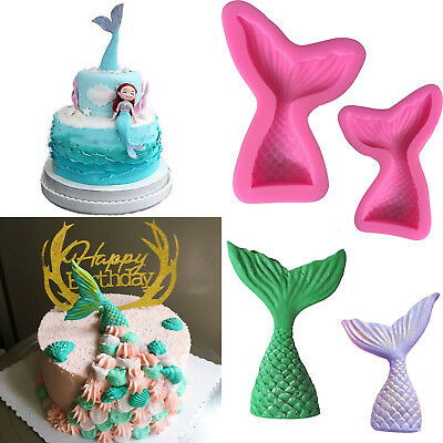 3D Mermaid Tail Scale Silicone Fondant Mould Cake Decor Sugar Ice Chocolate Mold