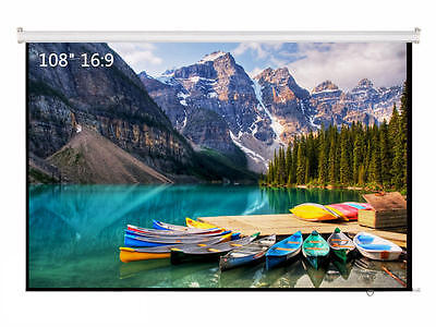 """108"""" Inch Projector Projection Screen 16:9 White Matte 3D HD Home Cinema Theater"""