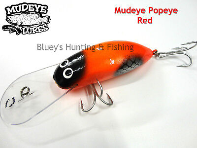 Timber Lure Mudeye Lures Cod, Barra,Mangrove Jack Popeye lure ;RED 180mm