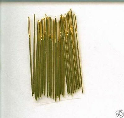 10 LOOSE GOLD PLATED NEEDLES **Size 28-Blunt ended for Cross Stitch