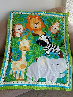 Jungle Cot Quilt or Playmat Handmade NEW