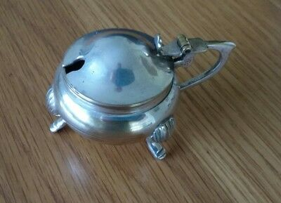 Vintage Silver Plated mustard Pot with 3 feet