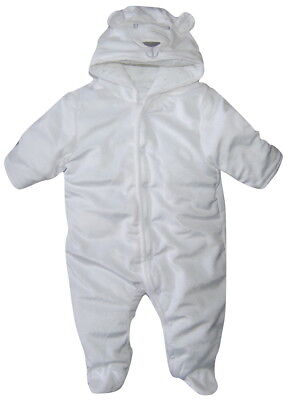 Babies White Soft  All in One Pram Suit Snowsuit 0-3 & 3-6 Months