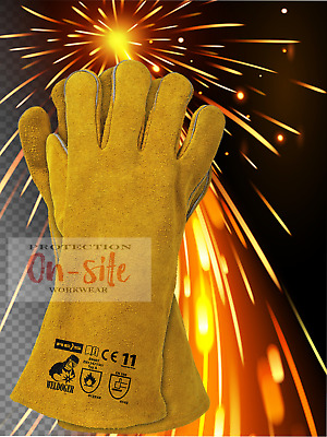 WELDING LEATHER GLOVES GAUNTLETS WELDERS WITH KEVLAR HEAT RESISTANT 1 pair