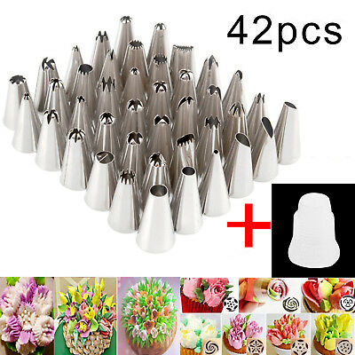 42Pcs Russian Flower Icing Piping Nozzles Pastry Tips Cake Decorating Tools Set