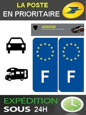 2 Stickers Autocollant Plaque D Immatriculation Logo Europe + F France