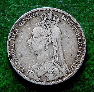 1891 Great Britain Shilling Coin KM#774 SB2757