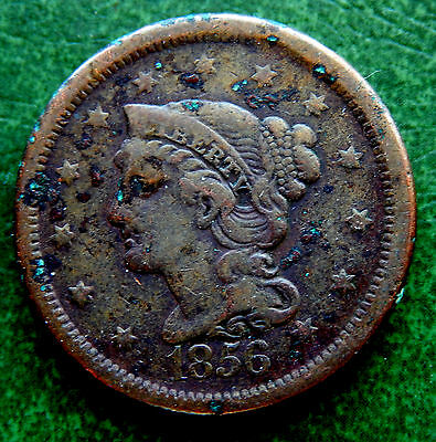 1856 USA Braided Hair Large One Cent Coin KM#67  SB2072