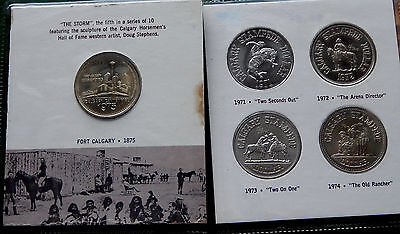 "1975 Calgary Centennial ""100 Years of Western Tradition"" 5 Trade Dollars  SB2250"