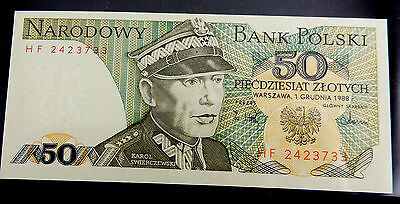 1988 Poland 50 Zlotych Banknote P.142.c Mint Uncirculated  SB3307