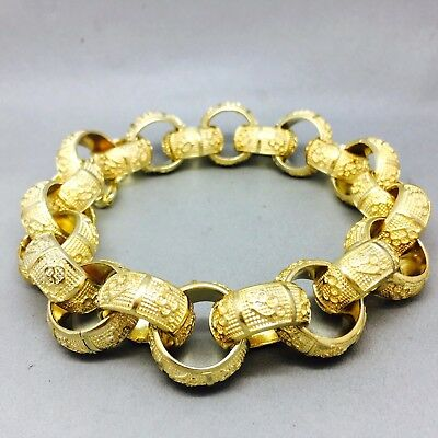 "MENS HEAVY 134g ""KNUCKLE DUSTER"" BELCHER BRACELET 9CT GOLD ON JEWELLERS BRONZE"
