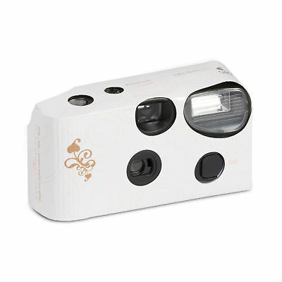 Disposable Cameras with Flash White Wedding Memories Gold Swirl Pack of 5
