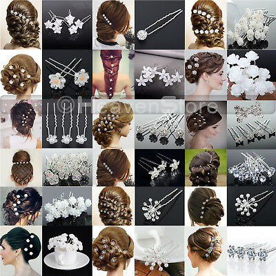 Flower Wedding Hair Pins Bridesmaid Crystal Diamante Pearls Bridal Grips UK LOT