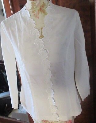 "Vintage Laura Ashley Embroidered "" Optic White"" Blouse. Bnwt. Size 12"
