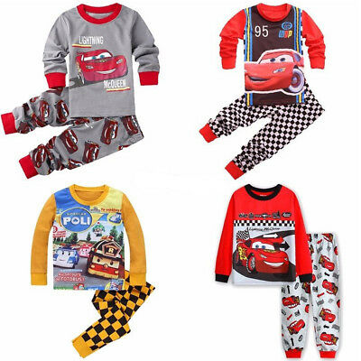 Cars Lightning McQueen Cartoon Toddler Boys Tops&Pants Outfits Pyjamas Set 1-7Y