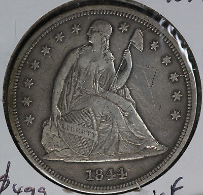 1844 Liberty Seated Silver Dollar - XF Details - Scratches