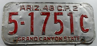 "Oldie Nummernschild USA aus Arizona ""GRAND CANYON STATE"" von 1948. 13272."