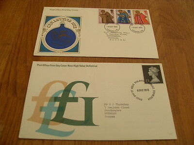England  F-D Covers- New High Values 1972 / Christmas 1972