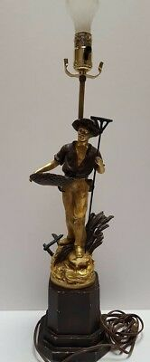 COLLECTION FRANCAISE Vintage Table Lamp Wheat Farmer With Rake & Basket