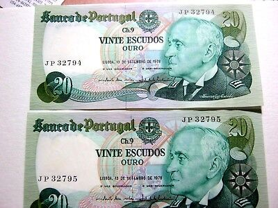 Portugal 20 escudos Consecutive pair 13.09.78 in the Uncirculated condition.