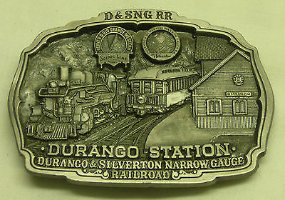 1987 C&J 1467 Pewter Belt Buckle Durango Silverton Train Station RR Railroad
