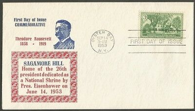 Us Fdc 1953 Theodore Roosevelt-Sagamore Hill Oyster Bay Ny 3C Stamp First Day