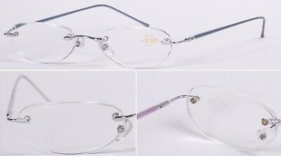 R47 Superb Quality Rimless Reading Glasses & Spring Hinges & Aluminum Alloy Arms