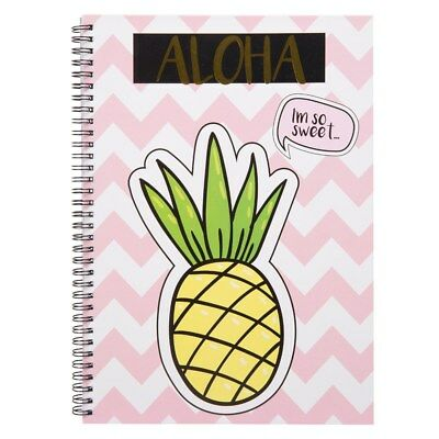 Tropical A4 Spiral Bound Notebook Lined/Ruled Paper-Pineapple