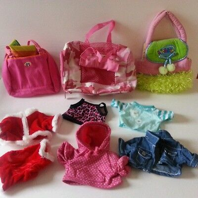 Lot of Webkinz Ganz Accessories Clothes Dog Purse Pink Camo Carrier Sold AS-IS