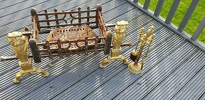 Antique Vintage Pair Of Brass Fire Dogs Lions With Fire Basket And Fire Bricks