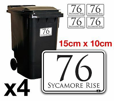 x4 WHEELIE BIN NUMBERS CUSTOM HOUSE AND ROAD STREET NAME STICKERS A6 - BN-28B