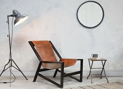 Tan Industrial Leather Arm Chair Scandinavian style retro low