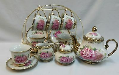 New 15Pc China Tea Set Gold With Country Rose Flower Print/ Display Stand