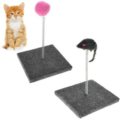 Pet Cat Kitten Scratch Pad Board Claw Care Mat Post Spring Soft Toy Mouse Ball