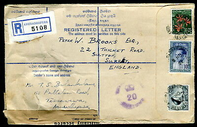 1962 Sri Lanka. Anuradhapura Registered Letter to England