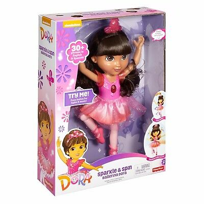 Dora The Explorer Sparkle & Spin Ballerina Dora Doll Fisher Price Age 3+ Moves!