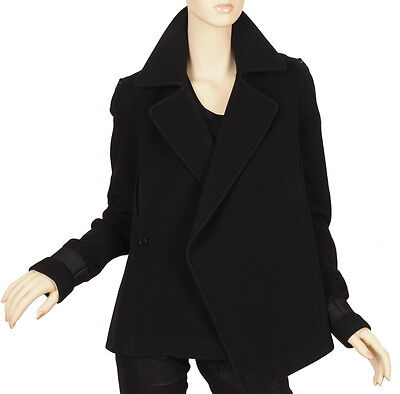 Auth Givenchy Ladies Black Wool Cashmere Stylish Winter Coat Jacket 40/8