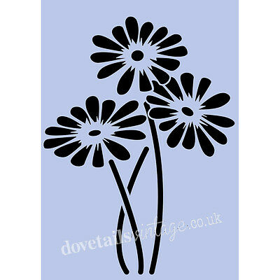 Flowers Stencil MUMS FLOWERS A5 Re - Usable Shabby Chic Airbrush Paint Craft 064