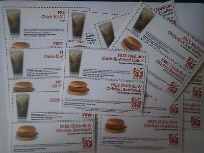 20 Paper Coupons for Chicken Sandwich and Med. Iced Coffee at Chick Fil A