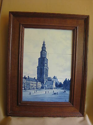 Antique Delft Porceleyne Fles Framed 6 Tile Tableau 1893