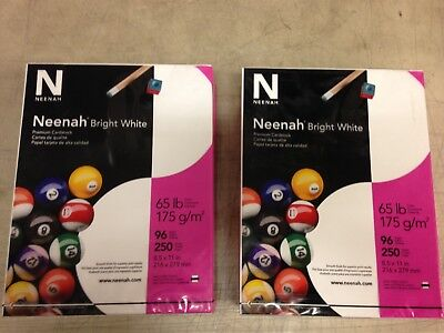 "Neenah Bright White Premium Cardstock 91904 65 lb 8.5""x11"" 2 Packs 250 Sheets ea"