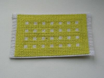 Dolls house rug cross stitch handmade yellow with white spots
