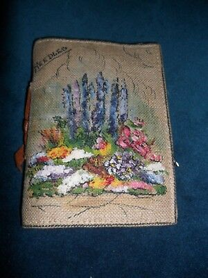 Vintage 1930'S needle case CANVAS HAND PAINTED FLOWERS Sewing Dressmaking