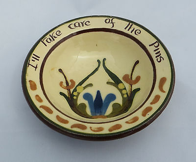 "Torquay Motto Ware - Round Pottery Pin Tray - Scandy - ""Take Care of the Pins"""