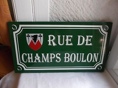 "French authentic  porcelain enamel street sign ""Rue De Champs Boulon"""
