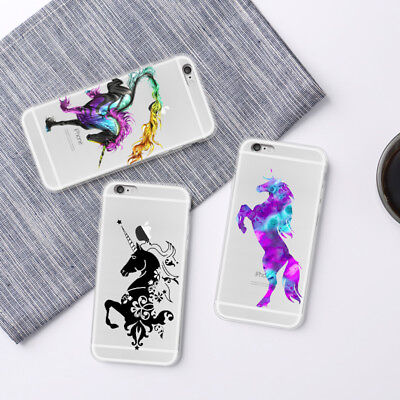 Cute Pattern Soft Silicone TPU Clear Unicorn Case Cover For Huawei P10 iPhone 8