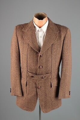 Vtg Men's 1960s 1930s Style Norfolk Belted Back Wool Tweed Jacket sz S #3866