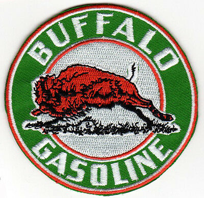 BUFFALO GASOLINE MOTOR OIL EMBROIDERED IRON ON PATCH  vintage racing jacket