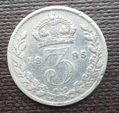 1895 Solid Silver Threepence Piece -  Queen Victoria - Veiled Head